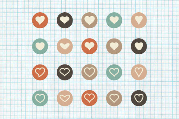 Flat Heart Icons