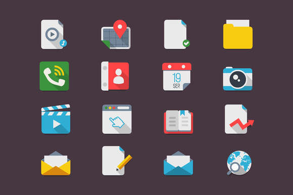 Flat icons, smartphone mock up