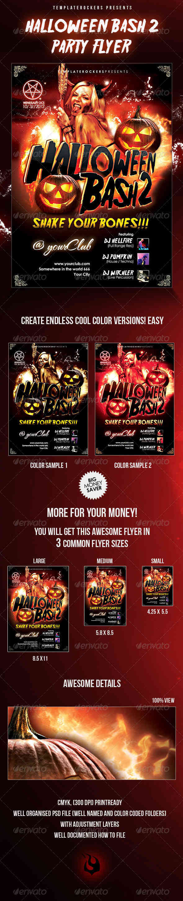 Halloween Bash 2 Party Flyer - 3 Sizes