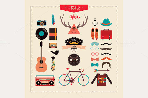 Hipster Stuff (vector design)