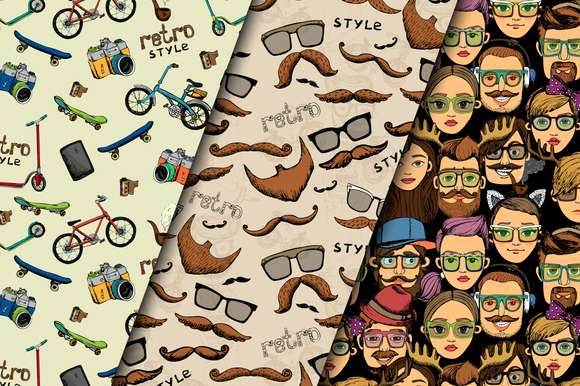 Hipster retro patterns