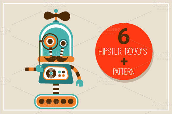 Hipster robots + pattern
