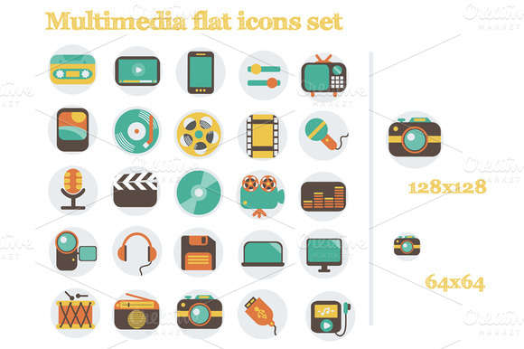 Multimedia flat icons set