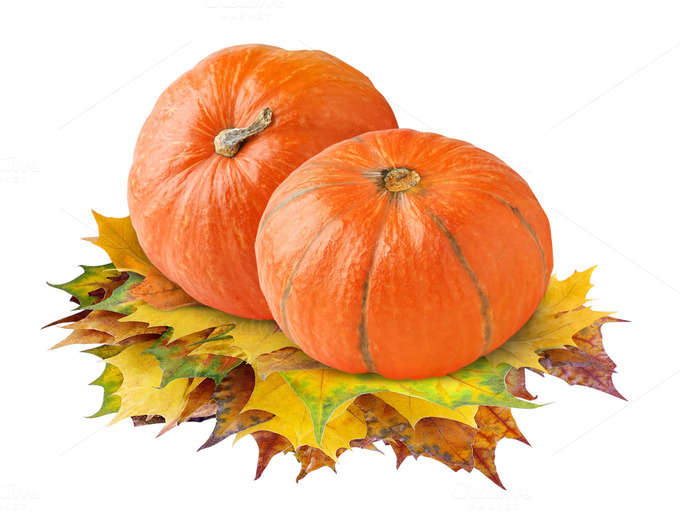 Pumpkins on transparent background