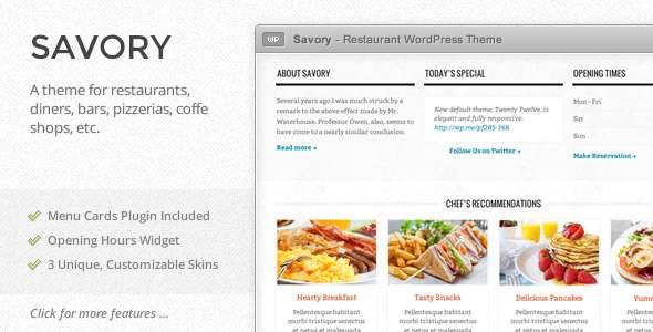 Savory - Responsive Restaurant WordPress Theme