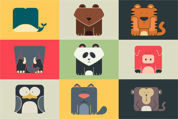 Set flat square icons of a animals