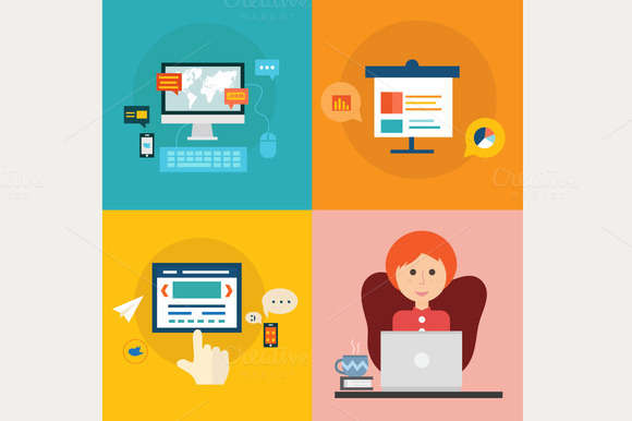 Set of flat design concept icons 2