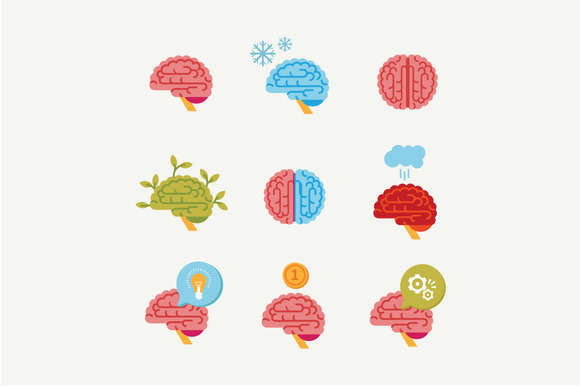 Vector flat brain icons