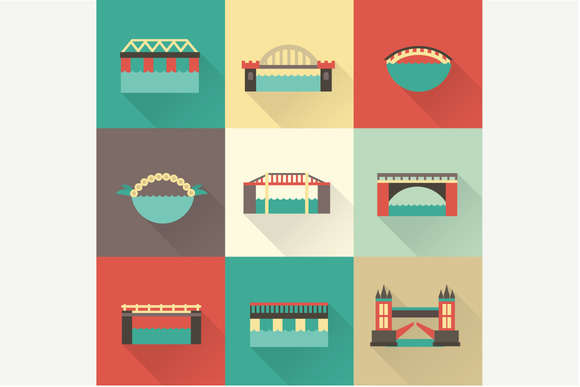 Vector flat bridge icons
