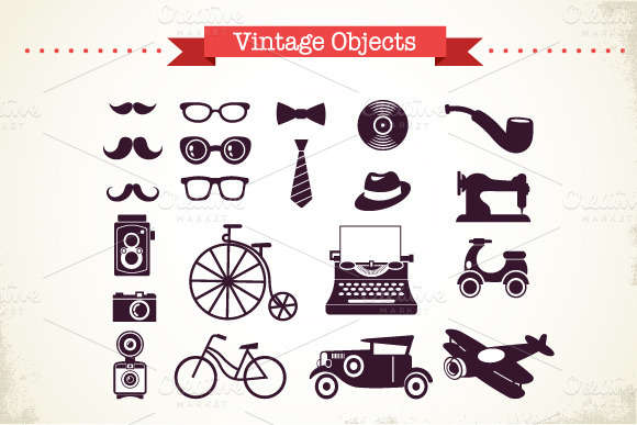 Vintage Hipster vector objects set
