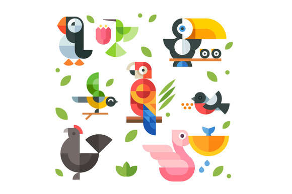 vector flat birds icon set