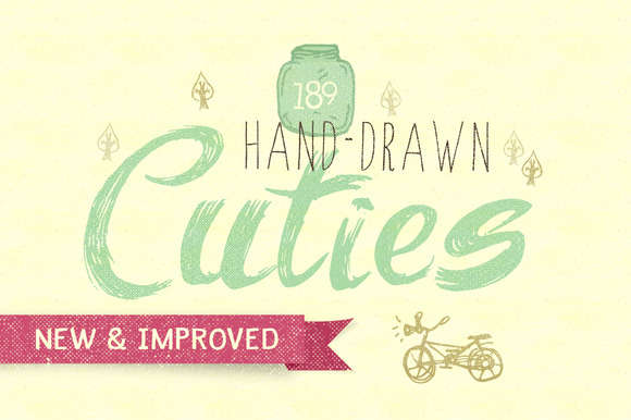 180 Hand-Drawn Cuties