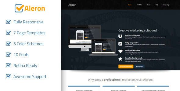 Aleron - Responsive Marketing Landing Page