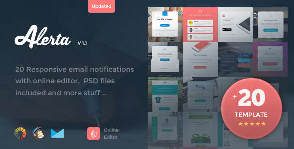 Alerta - 20 Responsive Email Notification + Online Editor