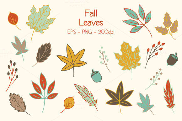 Autumn Fall Leaves Clip Art Set
