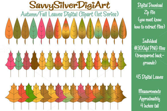 Autumn Fall Leaves Digital Clipart