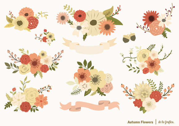 Autumn Flowers Set