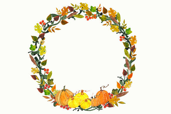 Autumn Watercolor Wreath Clipart