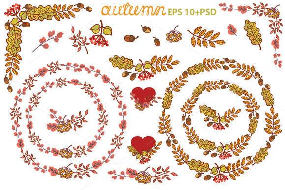 Autumn leaves wreath set. Clipart 1