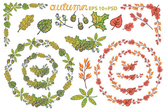 Autumn leaves wreath set. Clipart