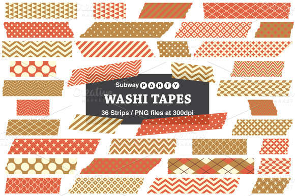 Gold & Orange Washi Tape Strips