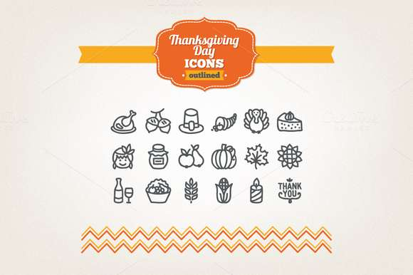 Hand drawn Thanksgiving Day icons
