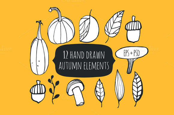 Hand drawn autumn set