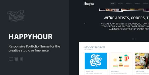 InHappyHour: Responsive Portfolio WordPress Theme