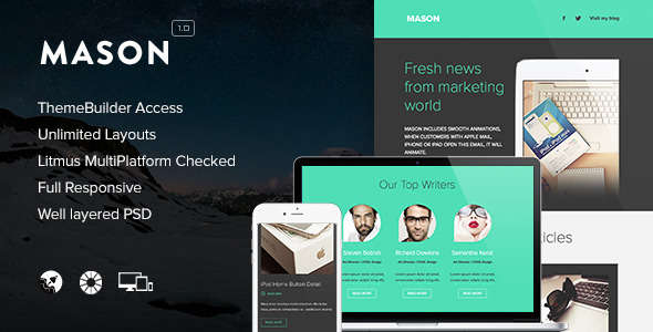 Mason - Responsive Email + Themebuilder Access