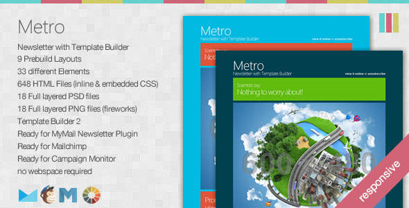 Metro - Responsive Newsletter with Template Builder
