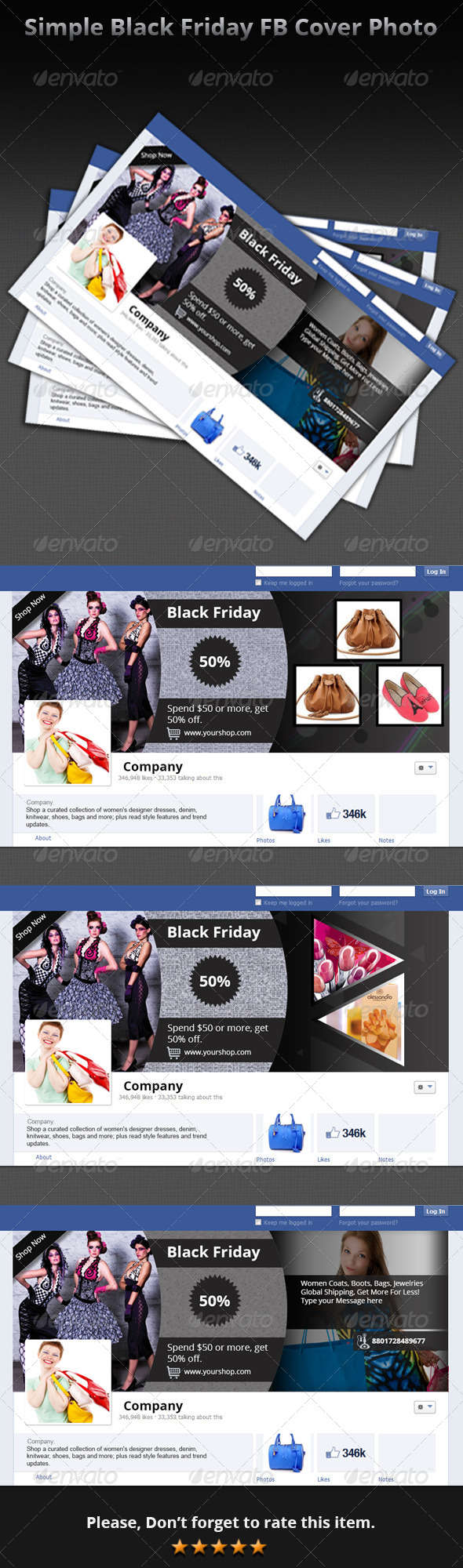 Simple Black Friday FB Cover Photo