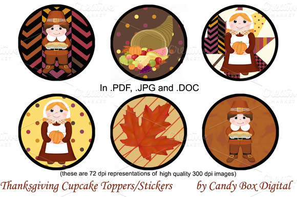 Thanksgiving Cupcake Toppers/Sticker