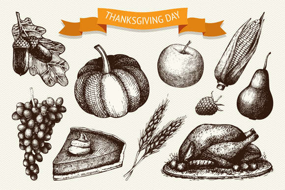 Thanksgiving day illustration set