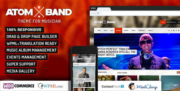 AtomBand by Chimpstudio is a WordPress theme for bands which features fully responsive layouts, Revolution Slider, WooCommerce integration and Bootstrap framework utilization.