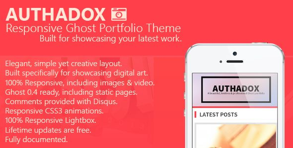 Authadox by JMDDesigns is a Ghost theme which features fully responsive layouts, search engine optimization, Bootstrap framework utilization, support for photo galleries, can be used for your portfolio and  minimal design.