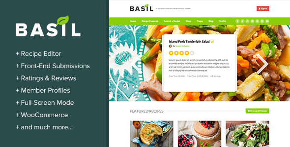 Basil Recipes by BoxyStudio is a niche WordPress theme with frontend submission functionality which features fully responsive layouts, Revolution Slider and WooCommerce integration.