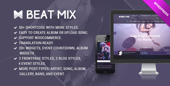 BeatMix Music And Band WordPress Theme by Kopasoft is a WordPress music theme which features parallax elements, fully responsive layouts, search engine optimization, Revolution Slider, WooCommerce integration, clean design, can be used for your portfolio and masonry post layouts.