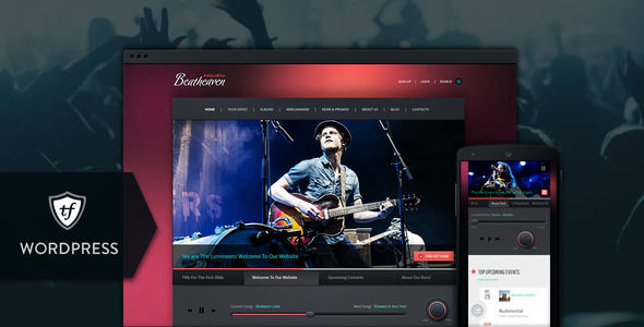 Beatheaven by ThemeFuse is a WordPress theme for bands which features Retina display support, fully responsive layouts and search engine optimization.