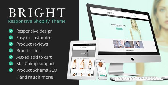 Bright by Noerbaek is a Shopify theme which features Retina display support, parallax elements, fully responsive layouts, search engine optimization and  clean design.