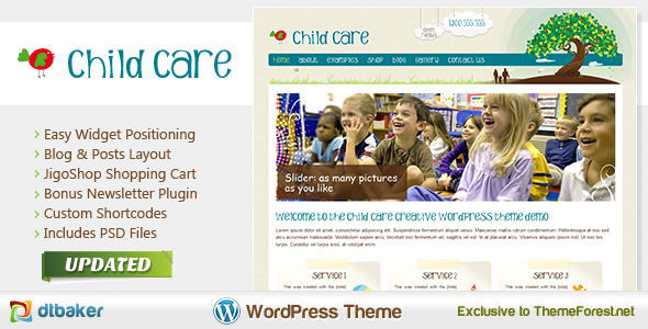 Child Care Creative by Dtbaker is a kids store WordPress theme which features fully responsive layouts and WooCommerce integration.