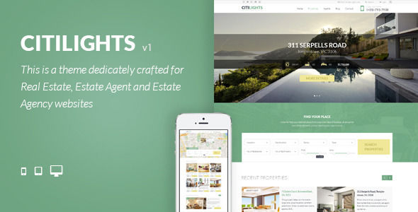 CitiLights by NooTheme is a niche WordPress theme with frontend submission functionality which features Retina display support, one page layouts, fully responsive layouts, search engine optimization, Google Fonts support, Revolution Slider, WooCommerce integration, clean design, is great for your personal site, corporate style visuals and a grid layout.