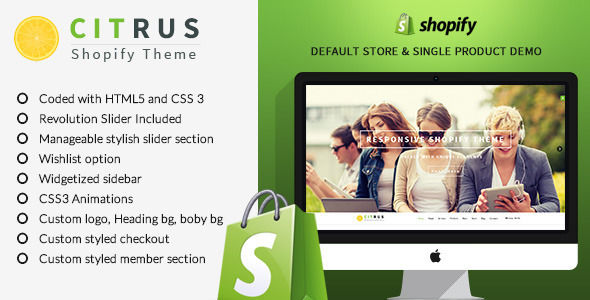 Citrus One-Page Parallax Shopify Theme by BuddhaThemes is a Shopify theme which features parallax elements, one page layouts, fully responsive layouts, Google Fonts support, Revolution Slider, clean design, can be used for your portfolio, corporate style visuals and  flat design aesthetics.