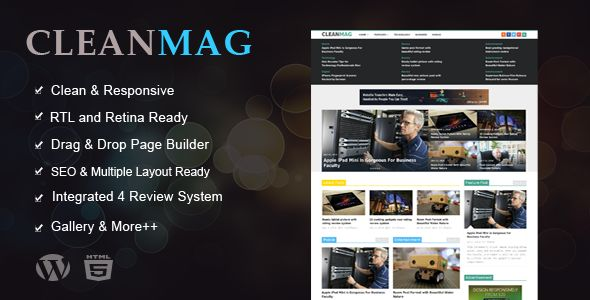 Cleanmag by ThemeRatio is a news magazine WordPress theme with video support which features Retina display support, support for RTL languages, fully responsive layouts, search engine optimization, Revolution Slider, clean design and magazine style layouts.