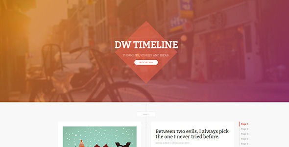 DW Timeline Ghost by Designwall_wp is a Ghost theme which features Bootstrap framework utilization and  blogging related layouts and optimizations.