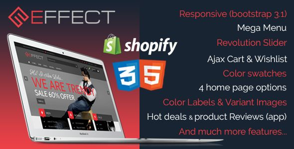 Effect by Xlentthemes is a Shopify theme which features support for RTL languages, Mega Menu, fully responsive layouts, search engine optimization, Revolution Slider, clean design, Bootstrap framework utilization and  a grid layout.