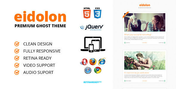 Eidolon by WebDesignPlanet is a Ghost theme which features Retina display support, fully responsive layouts, clean design, support for photo galleries, is great for your personal site, blogging related layouts and optimizations and  flat design aesthetics.
