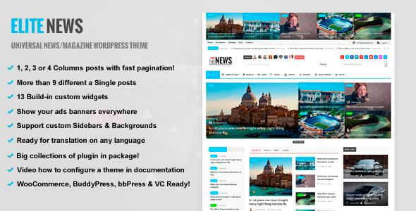 EliteNews by RoyalwpThemes is a news magazine WordPress theme with video support which features parallax elements, Mega Menu, one page layouts, fully responsive layouts, search engine optimization, Revolution Slider, WooCommerce integration, can be used for your portfolio and magazine style layouts.
