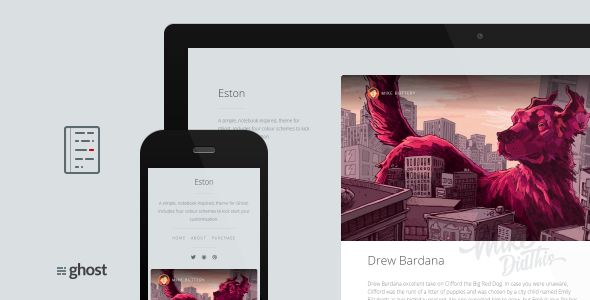 Eston by Mikedidthis is a Ghost theme which features fully responsive layouts, search engine optimization, Google Fonts support, clean design, flat design aesthetics and  minimal design.