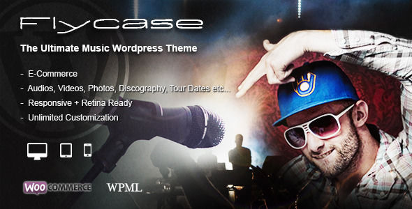 Flycase by BrutalDesign is a WordPress music theme which features Retina display support, parallax elements, fully responsive layouts, search engine optimization, Google Fonts support, Revolution Slider, WooCommerce integration, clean design and masonry post layouts.