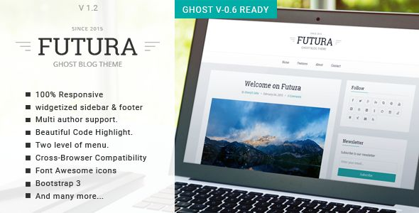 Futura by GBJsolution is a Ghost theme which features Retina display support, support for RTL languages, fully responsive layouts, Google Fonts support, clean design, Bootstrap framework utilization, is great for your personal site, blogging related layouts and optimizations, flat design aesthetics, masonry post layouts and  minimal design.